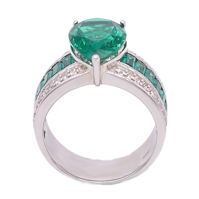 ladies green pear nano ring