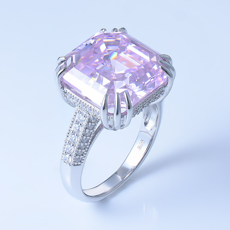 Jewelry Ring With Asscher Cut Diamond Pink CZ