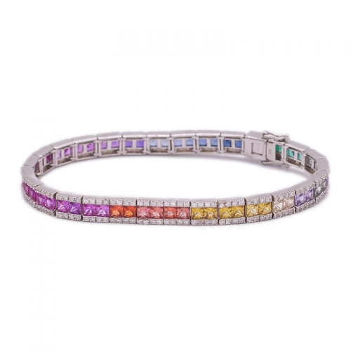 981e17c6ab98 Pulsera de plata del color del arco iris de la plata esterlina 925