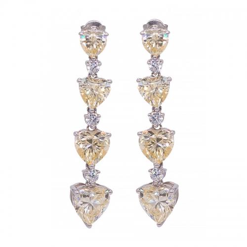 fe56d2f09628 Pendientes largos de plata de ley 925 con corazón amarillo