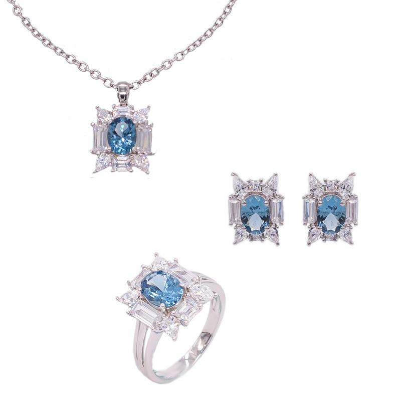 ad5ca545ea3d Al Por Mayor Joyas Nano De Diamantes Azules Engastadas En Plata De ...
